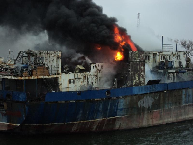 Ликвидация пожара на  т/х «Сайфула Кади»